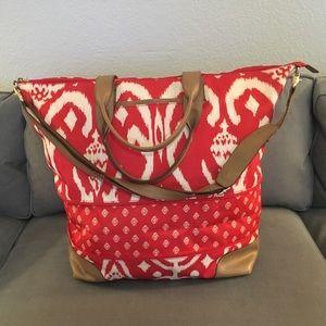Stella & Dot Getaway Bag in Red Ikat